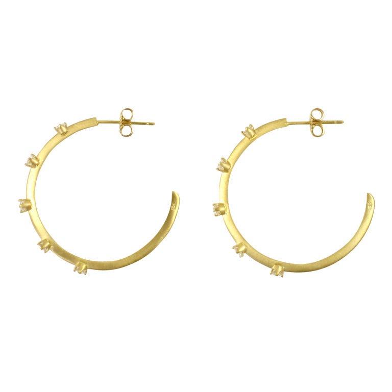 18K Yellow Gold & Diamond Hoop Earrings