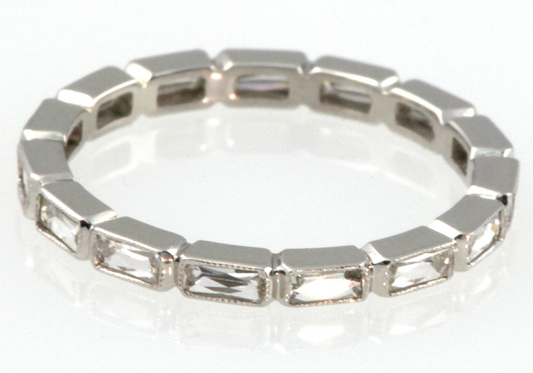 French cut Platinum eternity band image 2