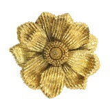 Yellow Gold Flower Brooch