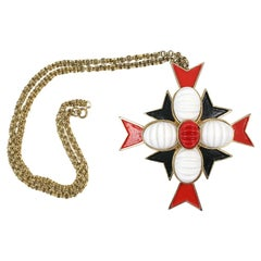 Castlecliff Maltese Cross Necklace, Costume Jewelry