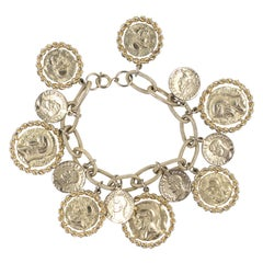 """Gold"" Coin Charm Bracelet, Costume Jewelry"