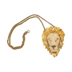 Razza Lion Pendant Necklace, Costume Jewelry