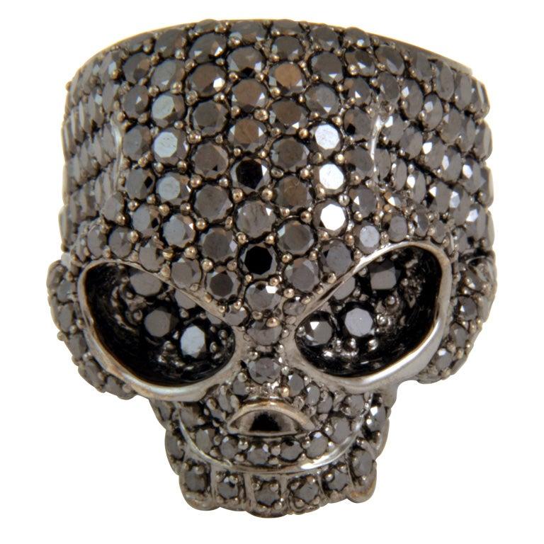 exceptional black skull ring at 1stdibs