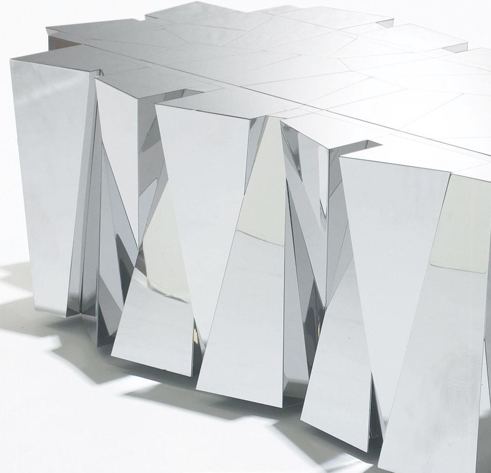Faceted Copper Coffee Table: Rare Paul Evans Faceted Stainless Steel Coffee Table At