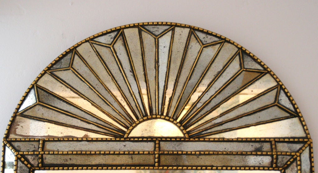 Italian Sunburst Gold Gilded Reverse Painted Wall Mirror