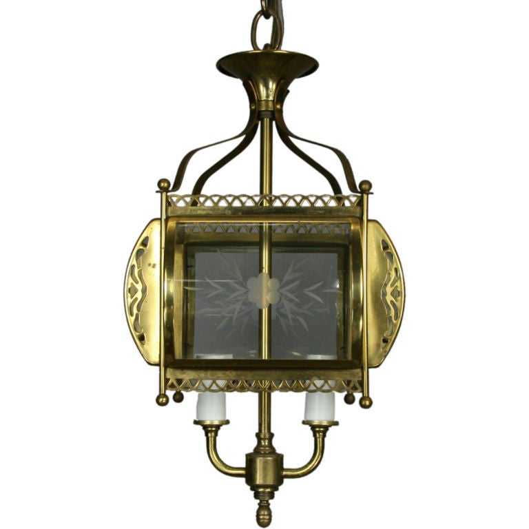 Four-Light Etched Bent Glass Brass Lantern For Sale 1