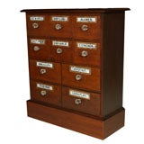 Antique 10 drawer Apothecary With Glass Labels & Pulls