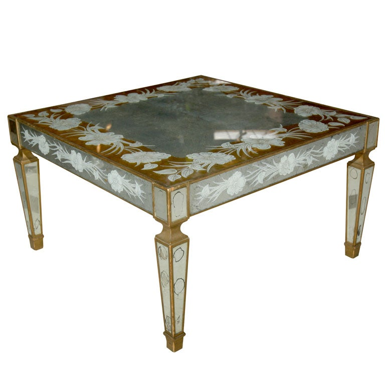 Eglomise mirrored cocktail table at 1stdibs for Mirrored coffee tables