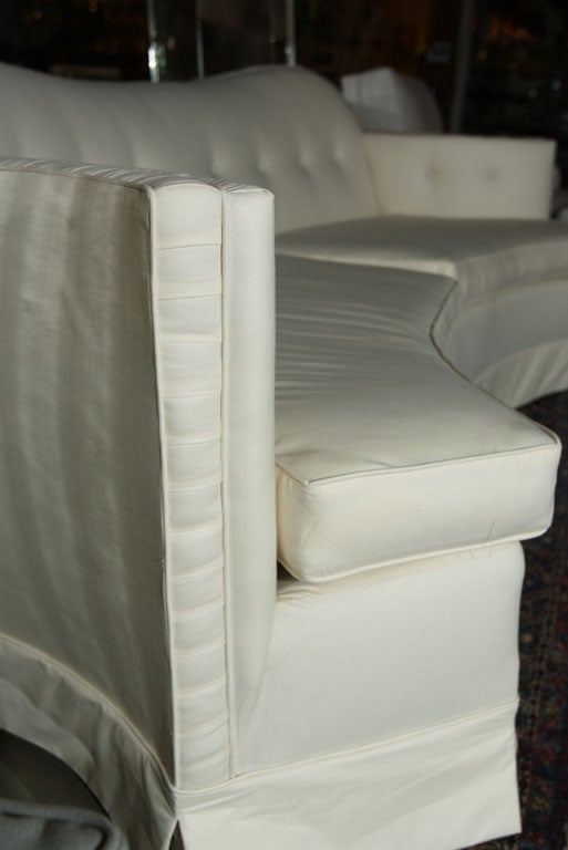 High Style Couch Sofa Curved And Tufted 1940 S 8 Feet Long