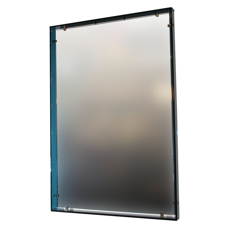 Fontana arte teal mirror at 1stdibs for Teal framed mirror