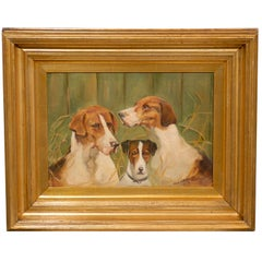 English 1913 Oil on Canvas Animal Painting of Three Dogs in Giltwood Frame