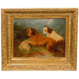 Small English 19th Century Framed Oil on Canvas Painting of Two Terriers Dogs