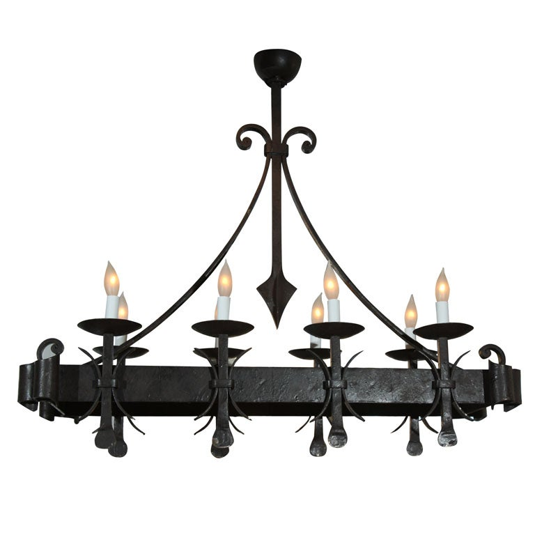 Gothic style painted iron chandelier for sale at 1stdibs gothic style painted iron chandelier for sale aloadofball Gallery