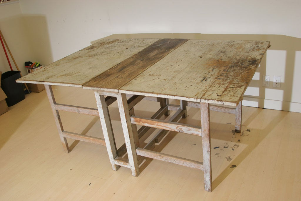 A Swedish Rustic Drop Leaf Table For Sale 1