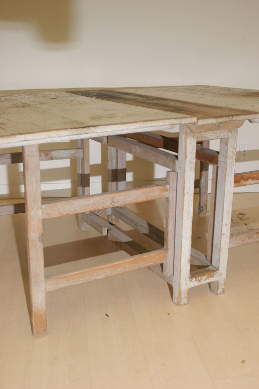 A Swedish Rustic Drop Leaf Table For Sale 5