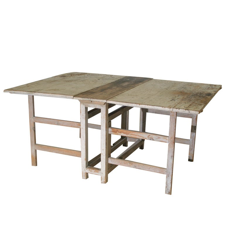 A Swedish Rustic Drop Leaf Table For Sale