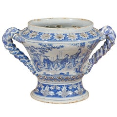 Large Blue and White Faience Urn, France ca. 1750