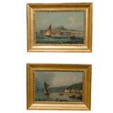 Pair of 19th century Oil Paintings with Harbor Scenes