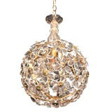 Glass and Bronze Chandelier by Bagues, French 1940s