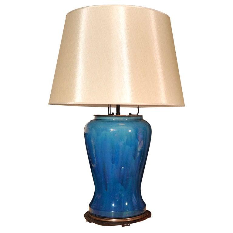 19th Century Asian Cobalt Blue Glazed Table Lamp At 1stdibs