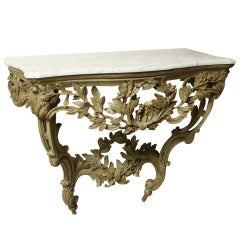 Green Painted Carved Wood Louis XV Provencal Console