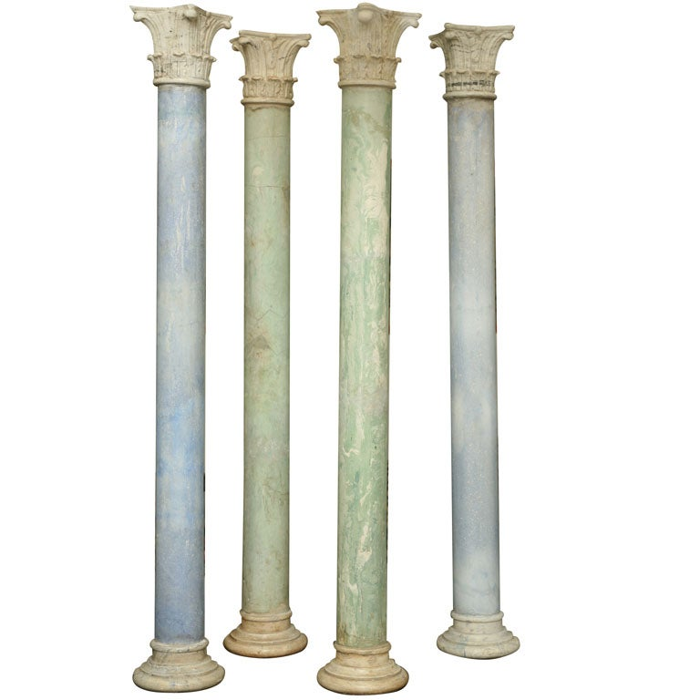 Set of four painted scagliola columns, late 19th century