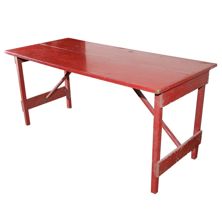 1940s folding dining table in red paint at 1stdibs - Foldable dining table for small space paint ...
