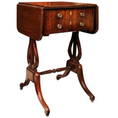 19th Century Mahogany Work Table with Drop Leaves