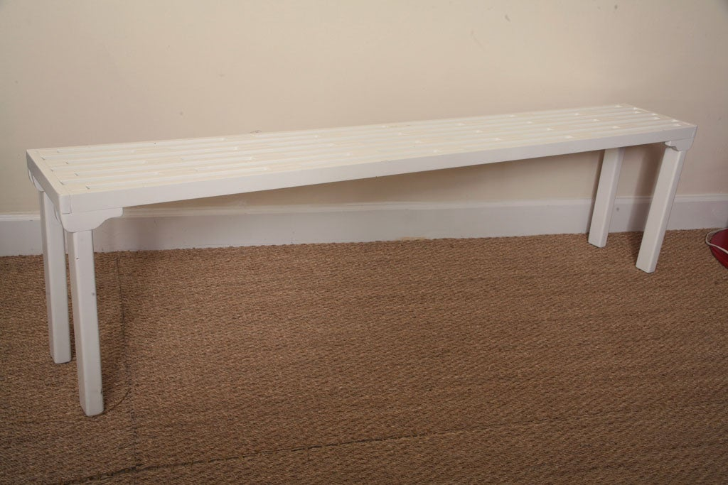 Long White Lacquered Slatted Wood Bench At 1stdibs