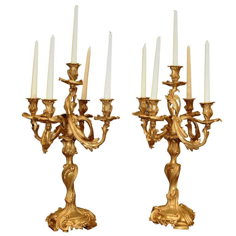 19th Century finest quality bronze dore candleabrum-Louis XV