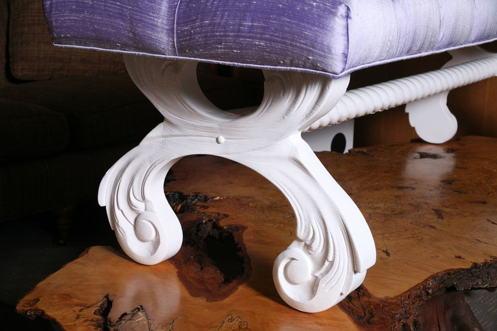 Tufted Hollywood Regency  Bench 4