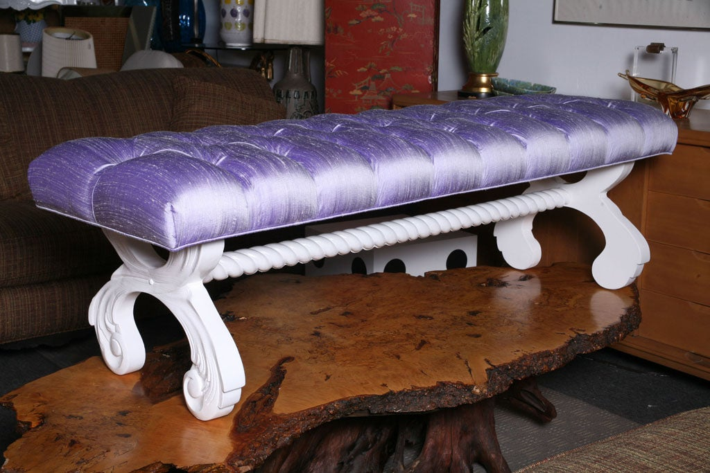 Tufted Hollywood Regency  Bench image 2