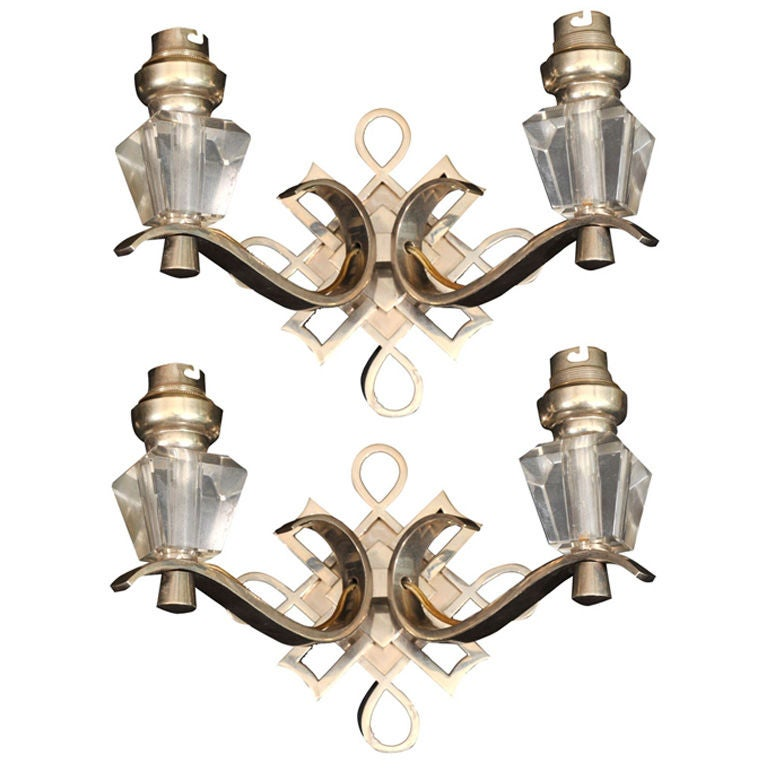 Wall Sconces Deco : Leleu Art Deco Pair of Wall Sconces For Sale at 1stdibs