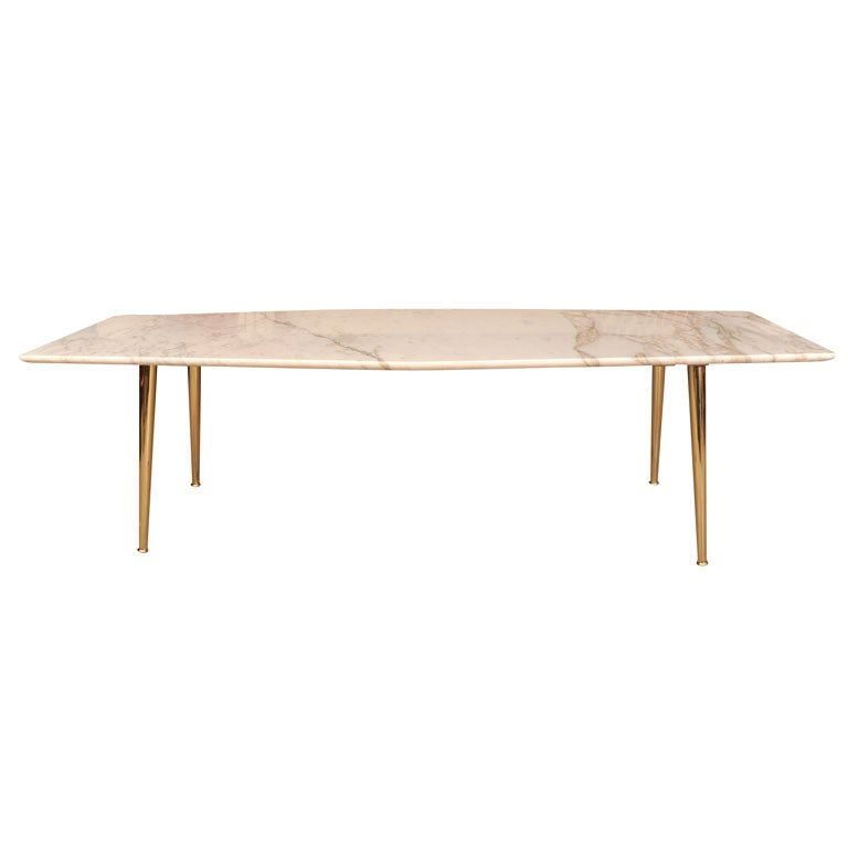 New York Marble Coffee Table: Elegant Italian Marble And Brass Coffee Table At 1stdibs