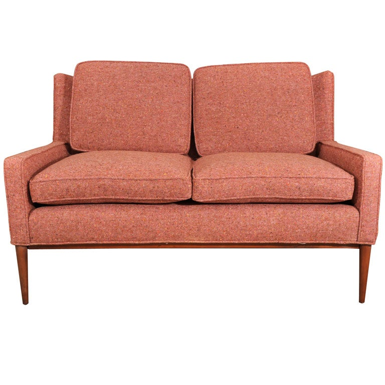 Paul McCobb settee on tapering wood legs