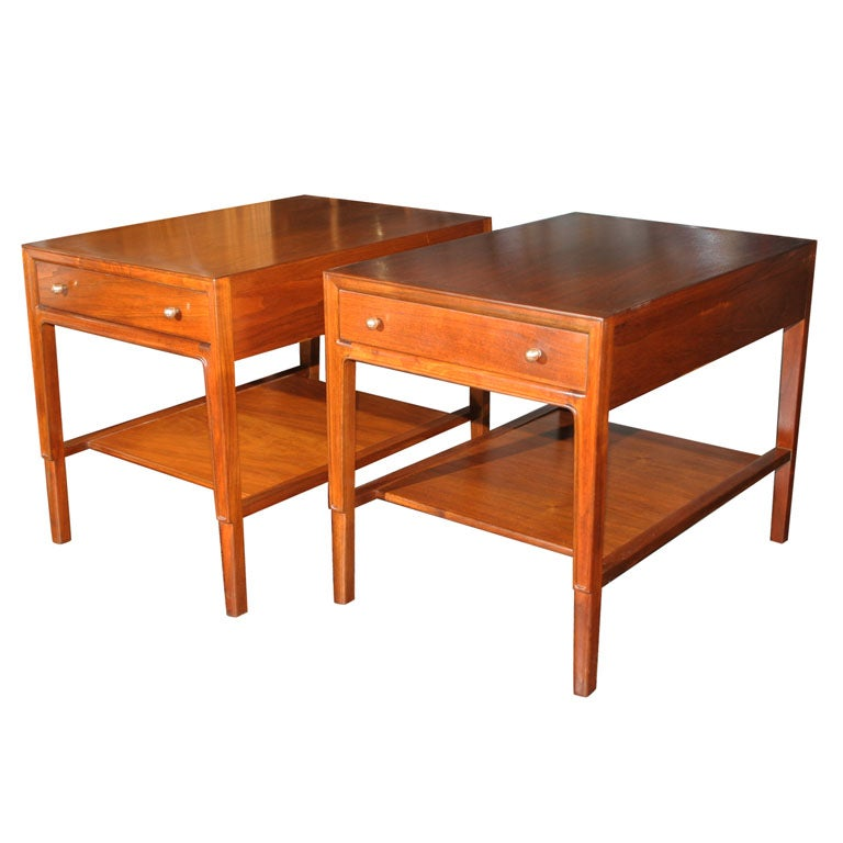 pair of mahogany end tables with drawers and shelves at. Black Bedroom Furniture Sets. Home Design Ideas