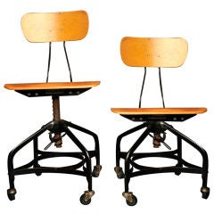 Set of Four Bent Plywood Workman'S Factory Chairs by Toledo