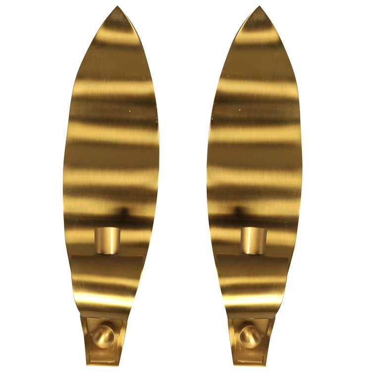 Brass Leaf Candle Sconces Manufactured by Ystad Metal