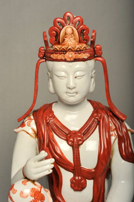 Japanese Hand-Painted Porcelain Bodhisattva Sculpture In Excellent Condition For Sale In New York, NY