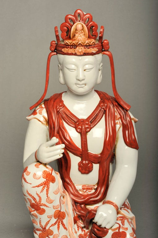 Japanese Hand-Painted Porcelain Bodhisattva Sculpture For Sale 1