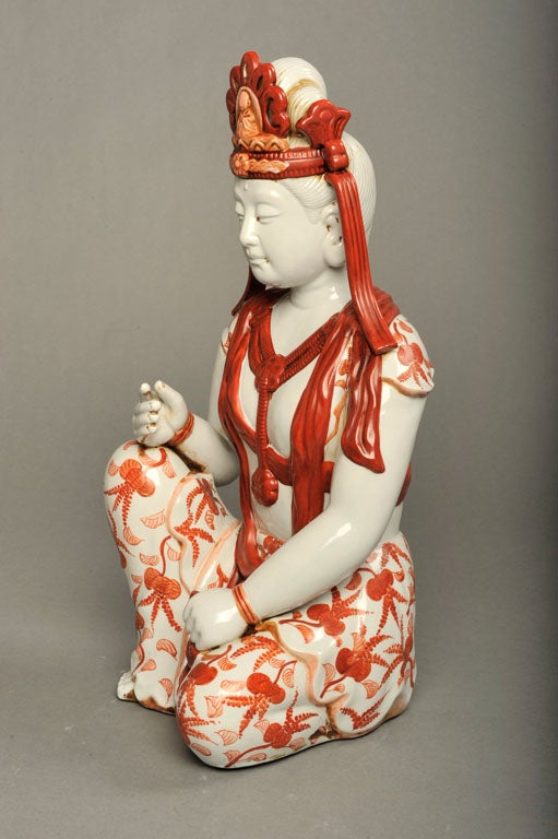 Japanese Hand-Painted Porcelain Bodhisattva Sculpture For Sale 2