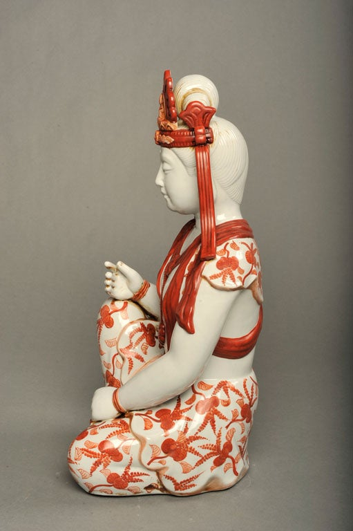 Japanese Hand-Painted Porcelain Bodhisattva Sculpture For Sale 3