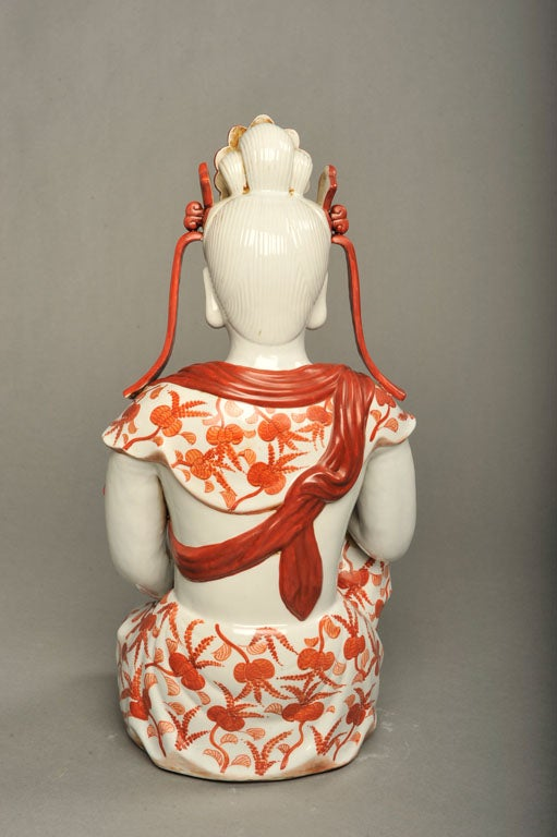 Japanese Hand-Painted Porcelain Bodhisattva Sculpture For Sale 4
