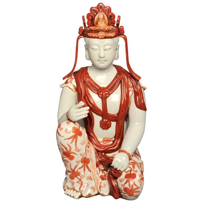 Japanese Hand-Painted Porcelain Bodhisattva Sculpture For Sale