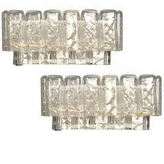 Pair of Handblown Glass Rectangular Sconces by Mazzega
