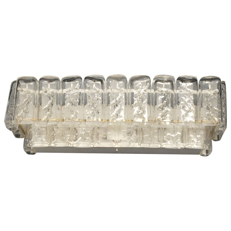 Hand-blown Glass Rectangular Vanity Sconce by Mazzega at 1stdibs