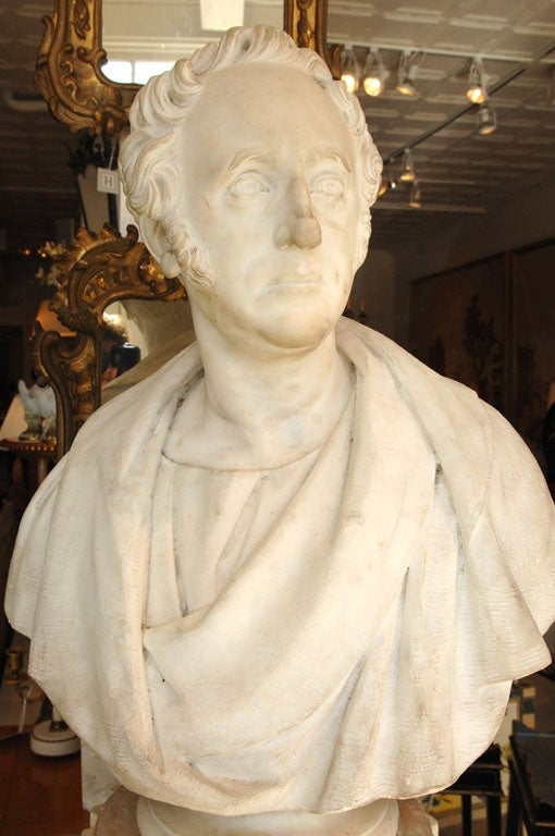 Wonderful Carved-Marble Bust of a Gentleman,<br /> on Creme-Painted Columnar Pedestal