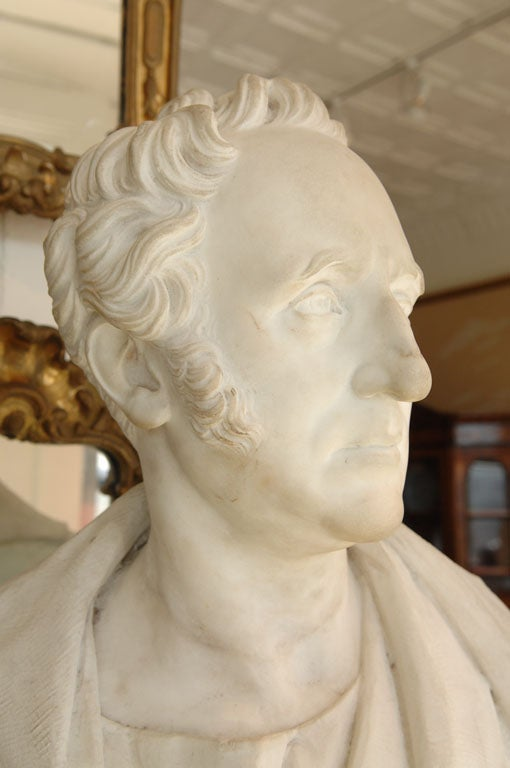 English Carved Marble Bust of a Gentleman on Fluted Pedestal For Sale