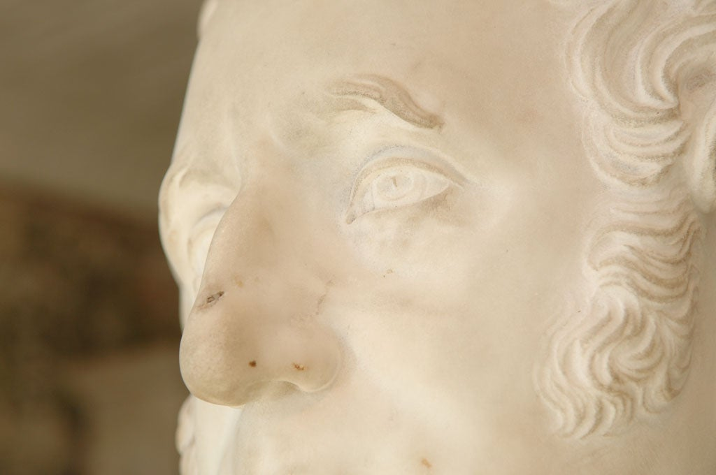 19th Century Carved Marble Bust of a Gentleman on Fluted Pedestal For Sale
