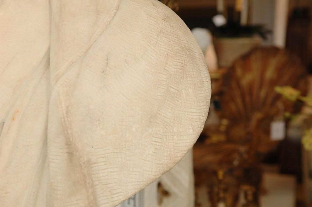 Carved Marble Bust of a Gentleman on Fluted Pedestal For Sale 6